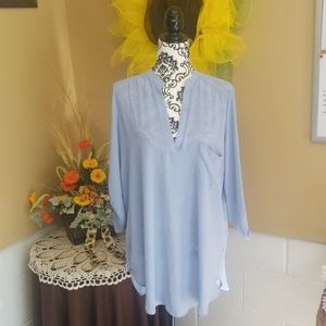 Womens blue sheer top size Large